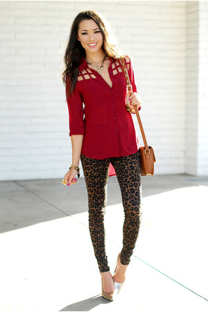 ruby red pink ice top - dark brown Nasty Gal jeans