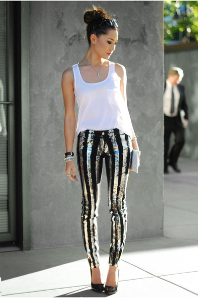 black Kasil Workshop pants - white New York and Company top