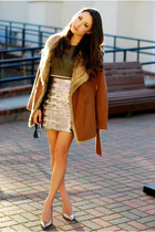 tan Sophia James skirt - tawny Chicwish coat - olive green Lulus top