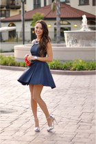 navy Dailylook dress - silver Topshop heels - navy Dailylook necklace