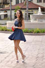Navy-dailylook-dress-silver-topshop-heels-navy-dailylook-necklace