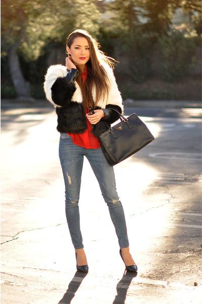 black faux fur Line and Dot coat - blue H&M jeans - red chiffon Rieley shirt