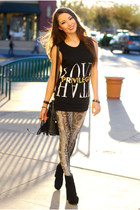 black privilege t-shirt - black OASAP boots - camel forward to all leggings