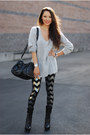 Bebe-boots-insane-jungle-sweater-romwe-bag-blackmilkclothing-pants