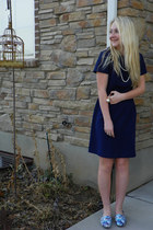 navy vintage thrifted vintage dress - blue blue kohls loafers