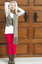 red red denim Khols jeans - tan zippers Forever 21 boots