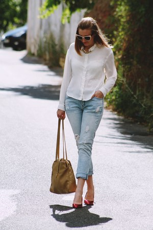 light blue Primark jeans - white Zara sunglasses