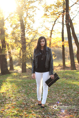 black leather jacket - black random purse - white New Yorker pants