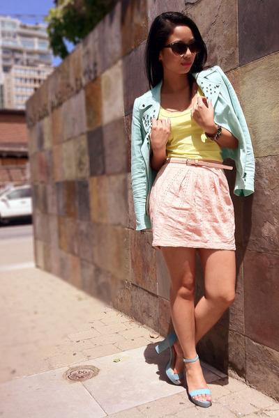 aquamarine studded Zara jacket - light yellow tank BCBG top