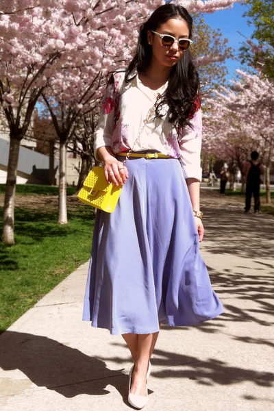yellow bag - ivory asos blouse - light purple full a-line American Apparel skirt