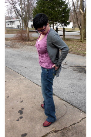 heather gray ruched on sides Tee Shop cardigan - so comfy Seven 7 jeans