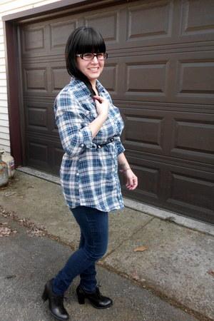 navy Charlotte Russe jeans - blue plain ruffle Girl Krazy shirt