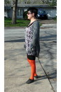 Carrot-orange-bakers-tights-brown-iz-dress-heather-gray-tee-shop-cardigan