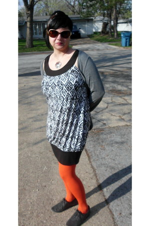 carrot orange Bakers tights - brown iz dress - heather gray Tee Shop cardigan