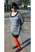 carrot orange Bakers tights - brown iz dress - heather gray Tee Shop cardigan