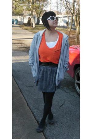 gray Express skirt - heather gray merona jacket - carrot orange joe boxer shirt