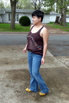 mustard Kinsey Girl flats - American Eagle jeans - brown Mossimo Supply shirt