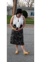 white Vince Camuto shirt - black skirt - mustard bow on toe kensie girl flats