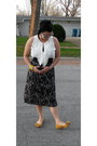 White-vince-camuto-shirt-black-skirt-mustard-bow-on-toe-kensie-girl-flats