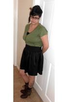 light brown apostrophe boots - olive green Ruff Hewn shirt - black skirt