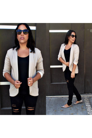 black denim jeans - beige cotton blazer - black blouse - off white flats