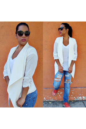 navy denim LOB jeans - ivory chiffon - blazer - off white cotton - blouse