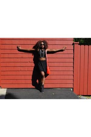 black JustFab boots - black Macys skirt - black Macys skirt