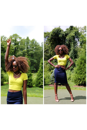 yellow Forever 21 top - navy skirt