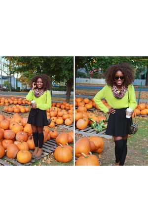 black Forever 21 tights - dark brown DSW boots - lime green kohls sweater