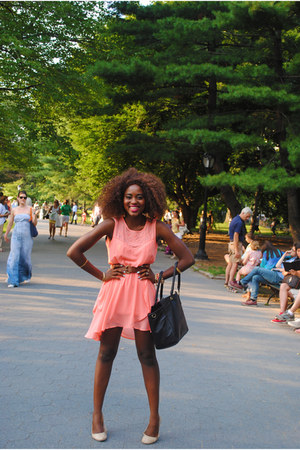 peach Forever 21 dress - brown H&M bag - Forever 21 belt