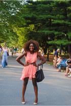 peach Forever 21 dress - brown H&M bag - Forever 21 belt
