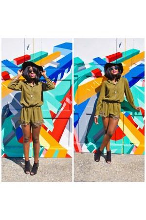 black cotton on hat - olive green Pink Blush romper - black DSW heels
