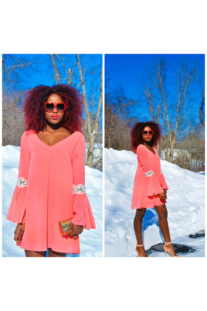 red Freyrs sunglasses - peach The Mint Julep Boutique dress