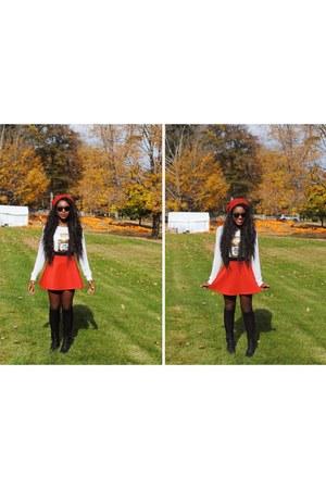 white kohls sweater - red Forever 21 skirt