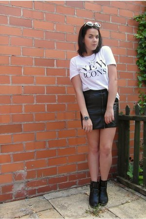 black leather skirt H&M skirt - black cut out boots Missguided boots