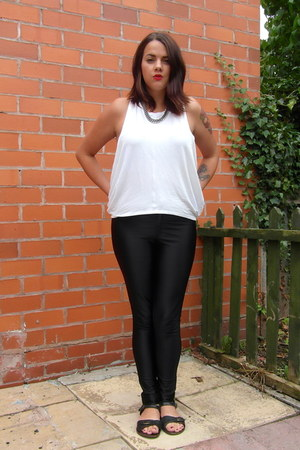 white Zara vest - black disco pants American Apparel pants