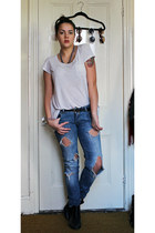 black asos boots - light blue Zara jeans - white H&M t-shirt