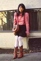 red vintage blouse - black BDG skirt - white tights - brown vintage purse - brow