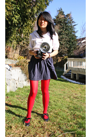white Peel blouse - blue American Apparel skirt - red American Apparel tights -