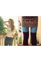 black American Apparel socks - white Urban Planet shirt - teal Forever 21 tights
