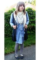scarf - tights - Gap dress - Groove shoes - accessories - Go International sweat
