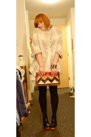 H&M coat - F21 via Buffalo Exchange dress - f21 purse - Steve Madden shoes - - 1
