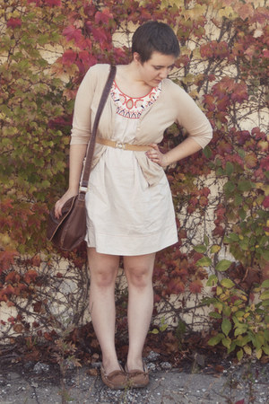 orange Anthropologie dress - tan dress barn cardigan