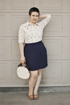 navy thrifted skirt - brown oxfords Steve Madden shoes - eggshell thrifted top