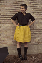 black rain boots boots - mustard Anthropologie skirt - black vintage blouse