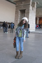 light blue H&M jeans - light brown Canadian boots - chartreuse Delias top - ligh