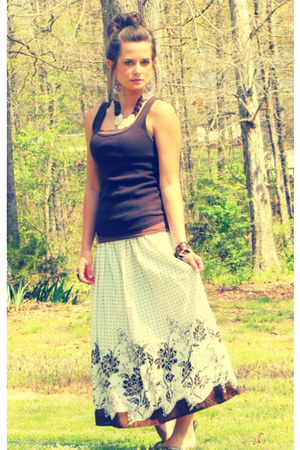 brown  white Ross skirt - brown thrifted top