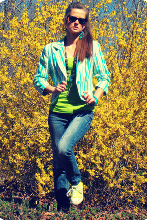 thrifted blazer - PacSun jeans - limeade green rue21 top