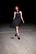 black platform Jeffrey Campbell wedges - black hi-lo homemade dress