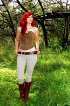 silver chain Alchemaille bracelet - brown leather boots - brown corset DIY top